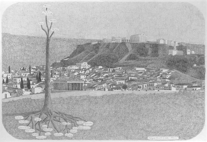 Akropolis met stamboom van de famillie Karuso, potlood op papier, 55 x 37 cm, 1998