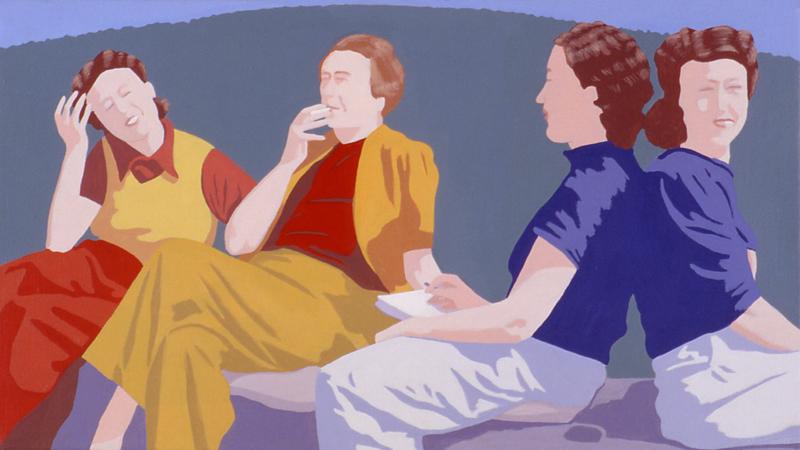 Nelly Liambley, Margeuritte Yourcenar, Lucy en de zus van Lucy in Griekenland, acryl op linnen, 25 x 45 cm, 2001