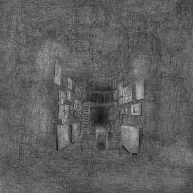 Het atelier van een kunstenares, Parijs, potlood op papier, 50 x 50 cm, 2008