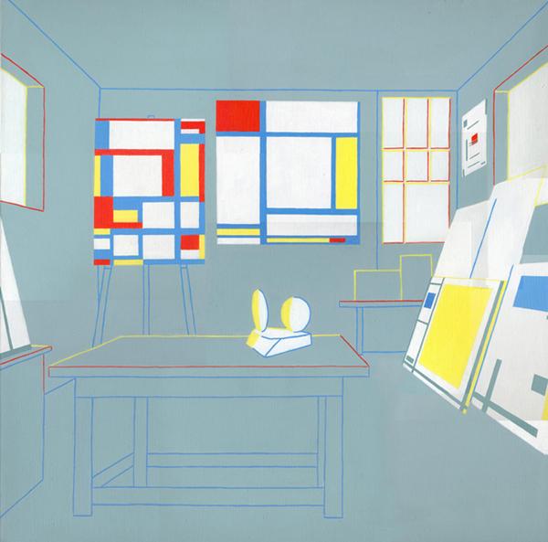 Het atelier van Marlow Moss in Lamoma, acryl op linnen, 90 x 90 cm, 1994