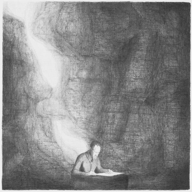 Een schrijver werkt, potlood op papier, 50 x 50 cm, 2008