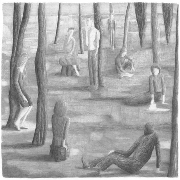 Alle mensen, potlood op papier, 60 x 60 cm, 2007