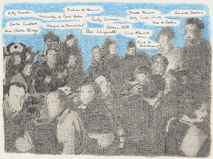 Groep met de hertogin de Gramont, potlood op papier, 24 x 18 cm, 2003