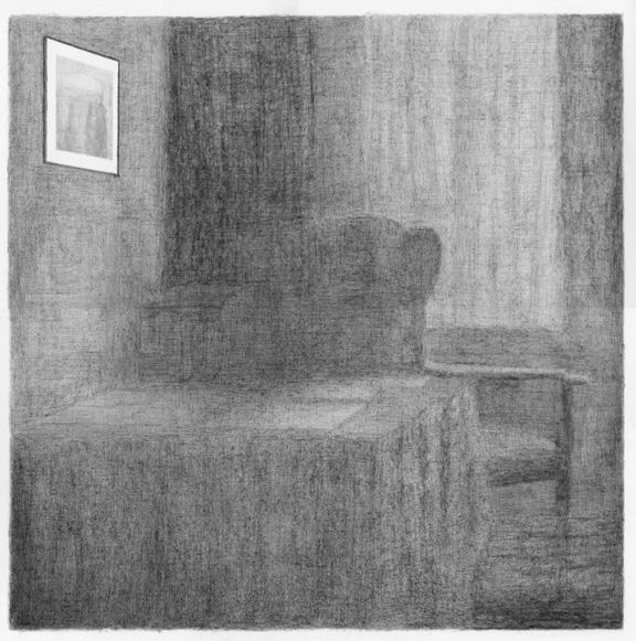 De werkkamer van Rainer Maria Rilke, potlood op papier, 50 x 50 cm, 2010