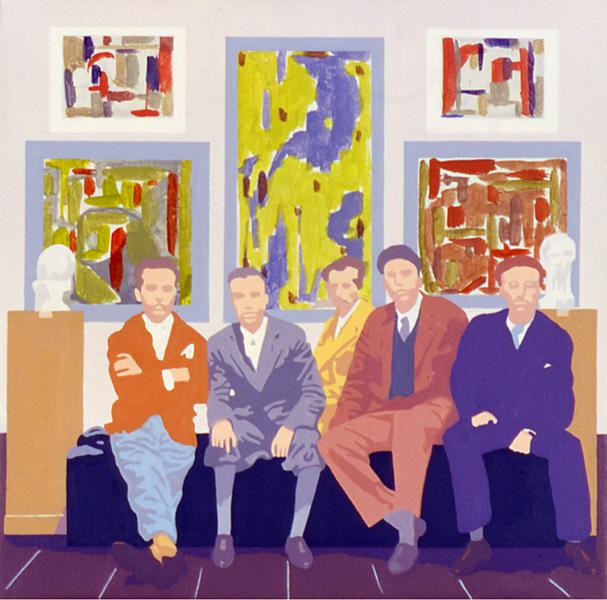 Vijf kunstenaars, vijf schilderijen en twee objecten, acryl op linnen, 40 x 40 cm, 2002