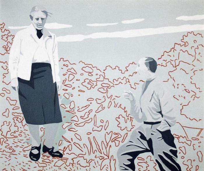 Netty Nijhoff en Marlow Moss in Lamoma, acryl op linnen, 60 x 70 cm, 1994