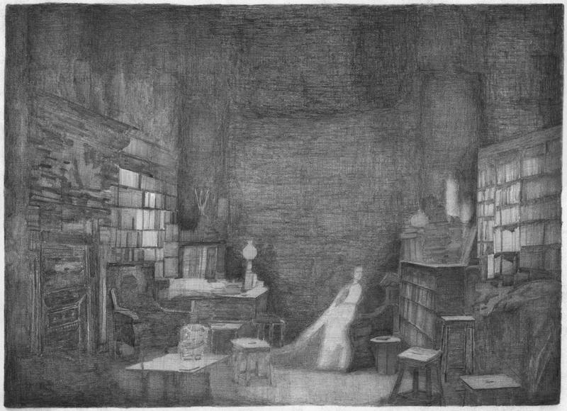 Schrijfster in haar werkkamer, potlood op papier, 50 x 70 cm, 2007