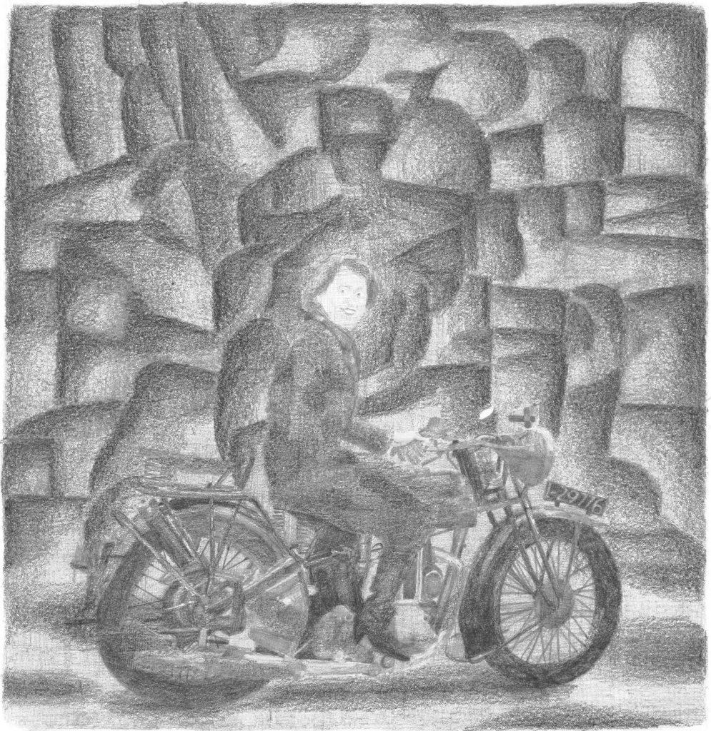 015. Marie-Louise op motor, potlood op papier, 40 x 40 cm, 2008