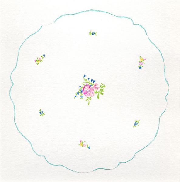 Naar een borduurwerk van Romana de la Salle, potlood op papier, 13 x 13 cm, 1999