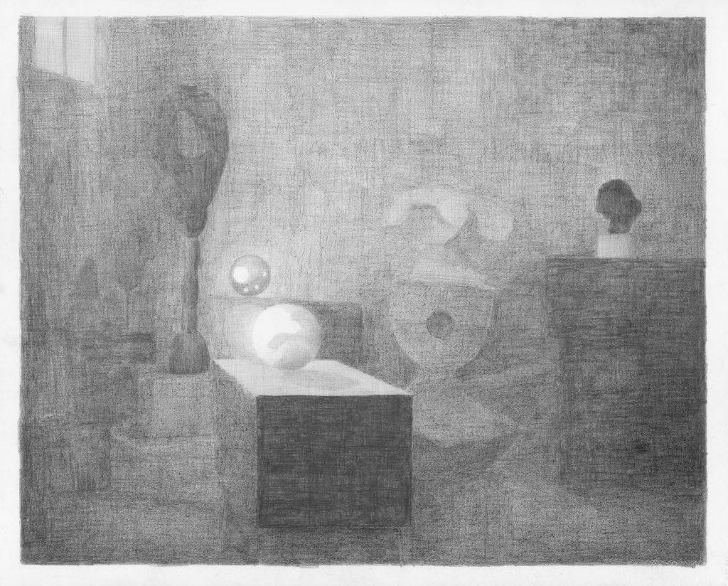 Het atelier van Brancusi, potlood op papier, 50 x 70 cm, 2012