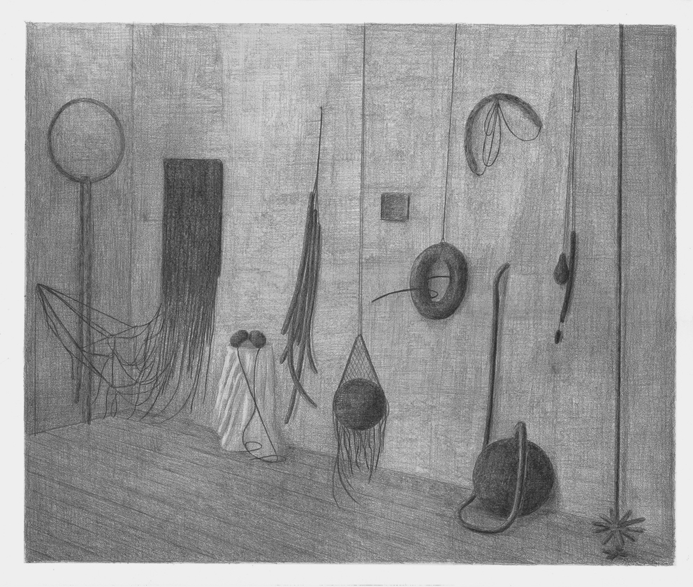 Het atelier van Eva Hesse, potlood op papier, 50 x 65 cm, 2016
