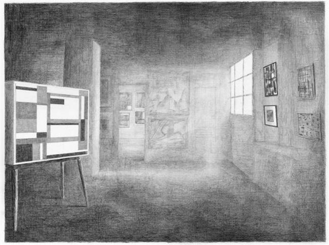 50 jaar abstracte schilderkunst (Galerie Creuze, Parijs, 1957), potlood op papier, 50 x 67,5 cm, 2010