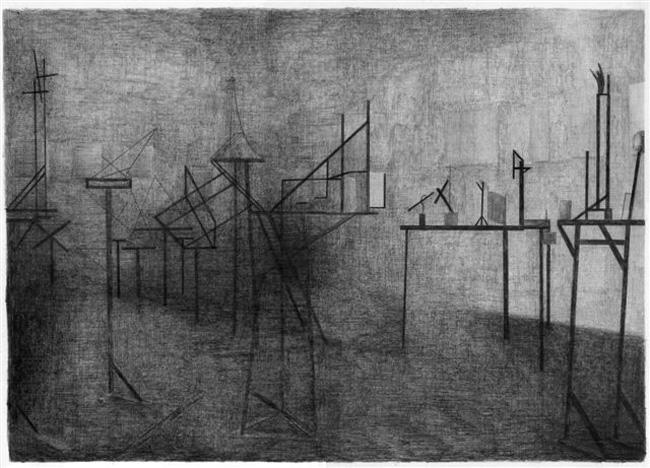 3e OBMOKhU tentoonstelling (Moskou, 1921), potlood op papier, 50 x 70 cm, 2010