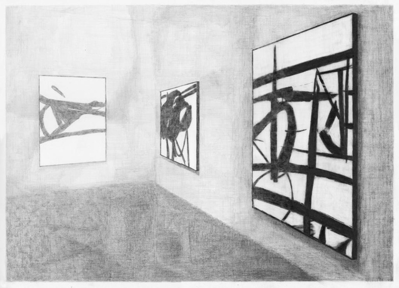 The New American Painting (Kline, MOMA New York), potlood op papier, 50 x 70 cm, 2011