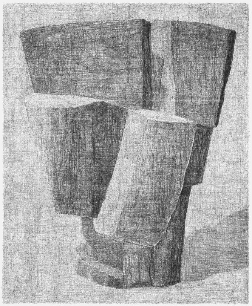 Naar Wotruba. potlood op papier, 65 x 50 cm, 2010