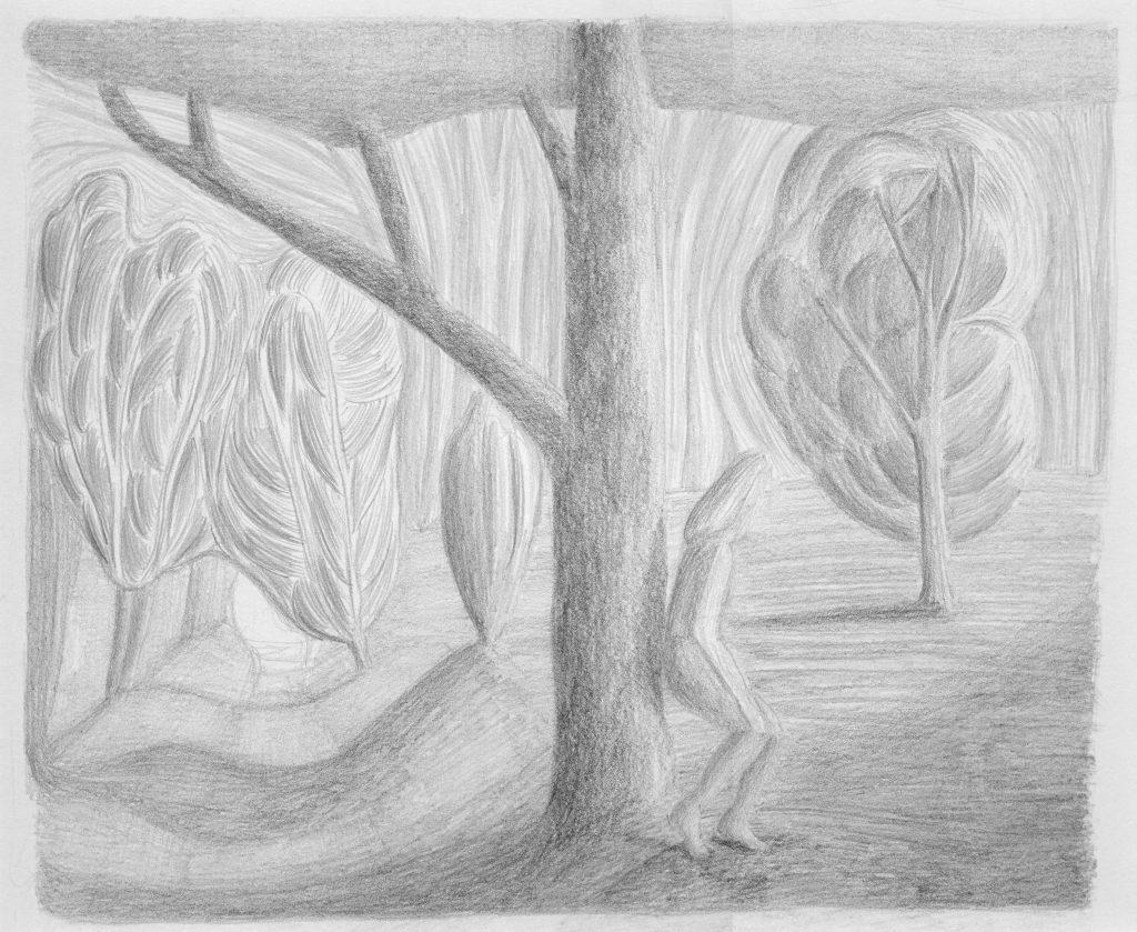 F.Dijkstra. z.t., potlood op papier, 2007, 25 x 31 cm
