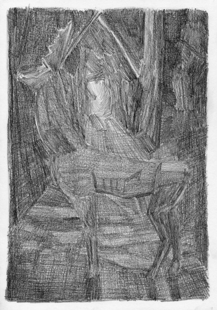 F.Dijkstra. z.t., potlood op papier, 2007, 29 x 19,5 cm
