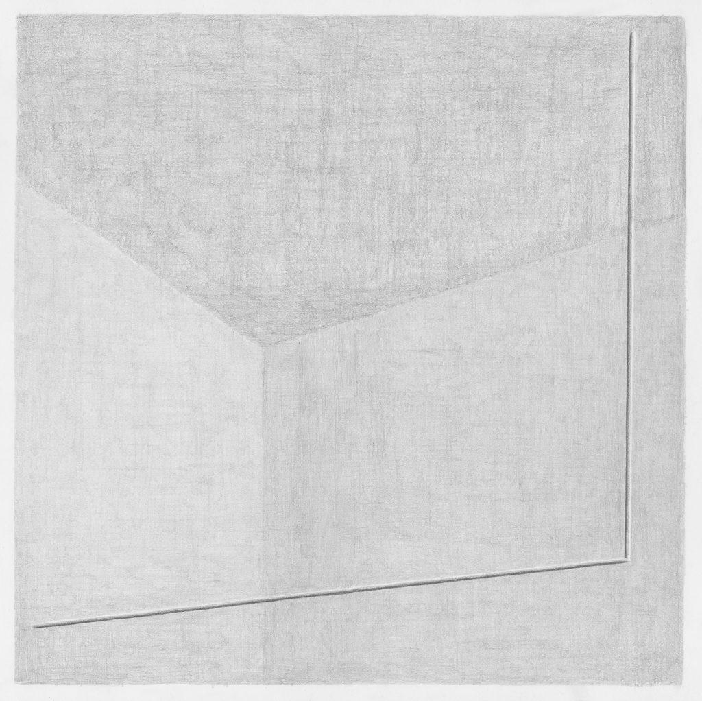 Squadra (naar Luciano Fabro, 1965), potlood op papier, 50 x 50 cm, 2015