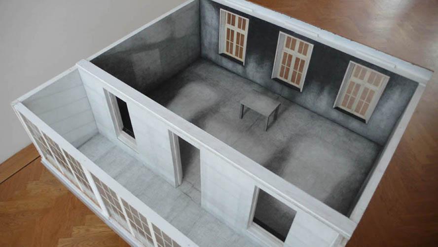 Werkkamer, hout en potlood op papier, 120 x 80 x 25 cm, 2011 (detail; in maquette De Nieuwe Galerie, Amsterdam)