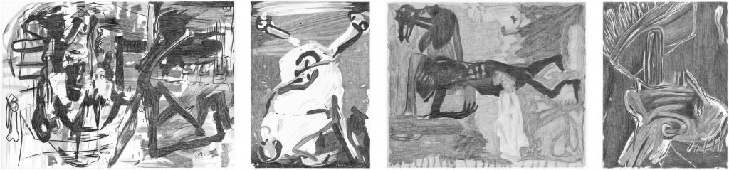 Documenta VII, potlood op papier, diverse maten (steeds 50 cm hoog), 2011